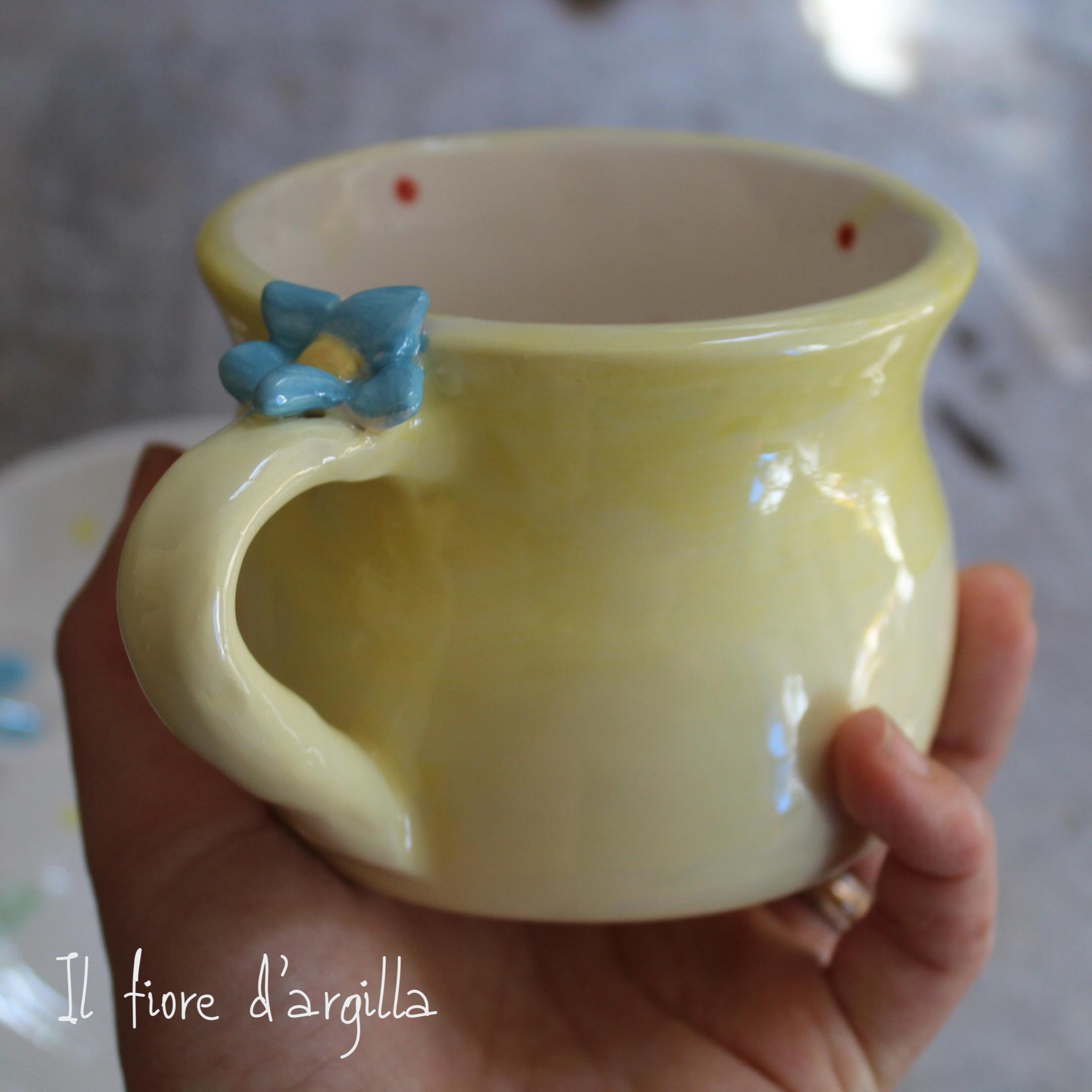 Tazza sagomata fiore e coccinella