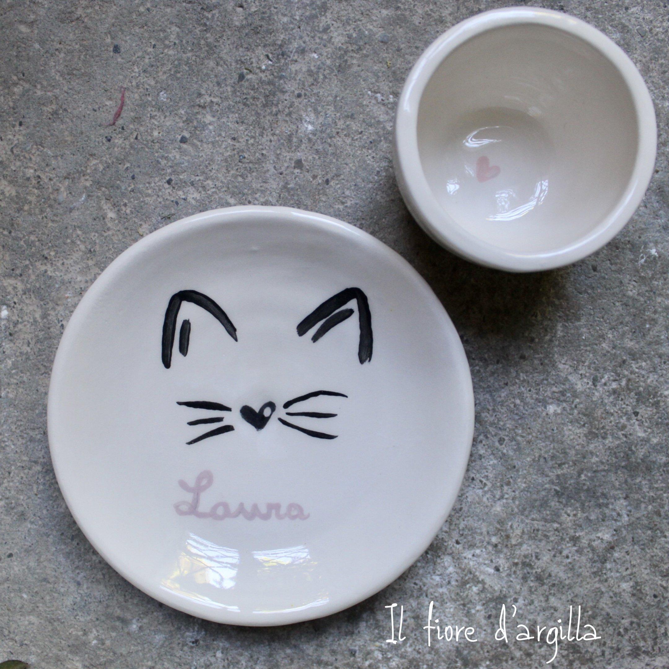 Piattino personalizzato con muso di gatto