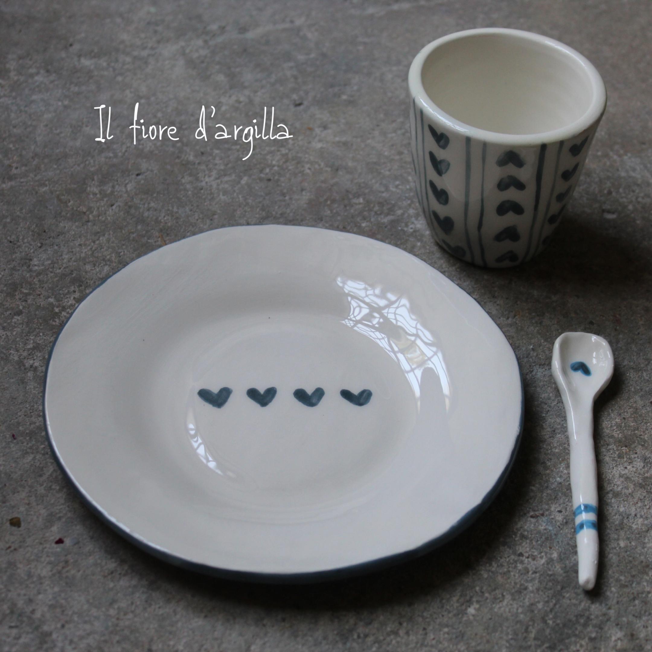 tazza piattino cuori blu 19