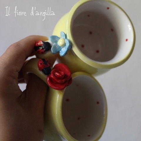 Tazzine da caffè coccinella e fiore