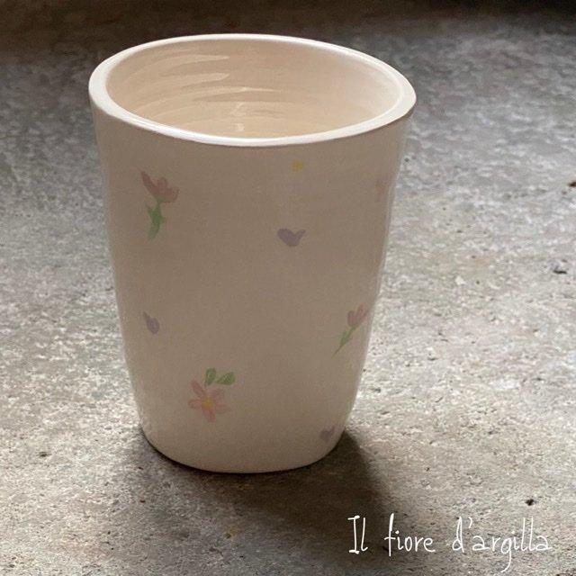Bicchiere alto piccolo pattern rosa