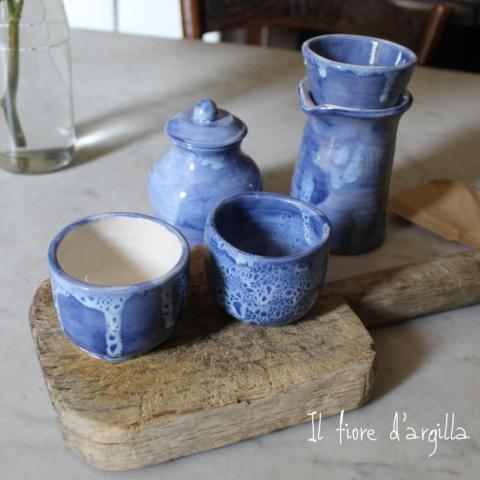 set caffè filtrato blu